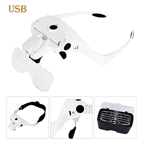ErYao Magnifying Glass, Head Mount Magnifier with 2 Led Light, USB Hands Free Headband Magnifier for Close Work, Professional Jeweler's Loupe Light Headband,5 Clear Magnifying Lenses(White)