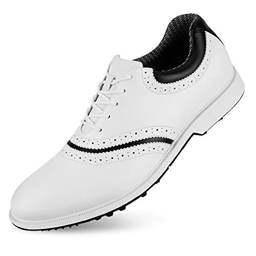 Herren Golfschuhe wasserdichte Weiche Mikrofaser Leder Atmungsaktive Anti-Rutsch-Nieten Sporttraining Weiße Schuhe