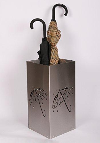 Regenschirmständer Design Umbrella open, 23 x 23 cm, Edelstahl mattiert, Marke: Szagato, Made in Germany (Schirmständer, Schirmhalter, Regenschirmhalter gebürstet)