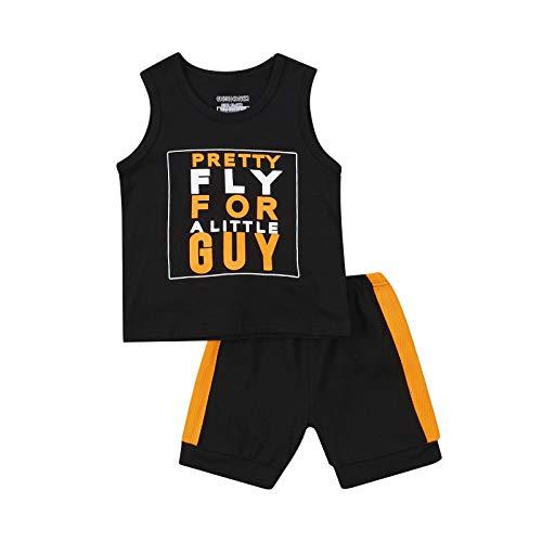 Toddler Boy Clothes Suit - Camiseta sin mangas con estampado de camuflaje, pantalones cortos deportivos informales, chalecos, pantalones de verano Negro 2-3 años