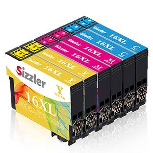 Sizzler 16XL Compatible pour Epson 16 Multipack Cartouches d'encre pour Epson Workforce WF-2510 WF-2760 WF-2630 WF-2650 WF-2750 WF-2660 WF-2530 WF-2540 WF-2520 WF 2010 WF2510 WF2760 WF2630