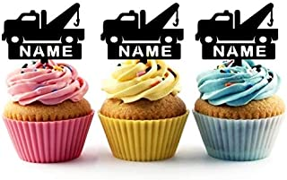 TA0856 Personalized Name Tow Truck Silhouette Party Wedding Birthday Acrylic Cupcake Toppers Decor 10 pcs