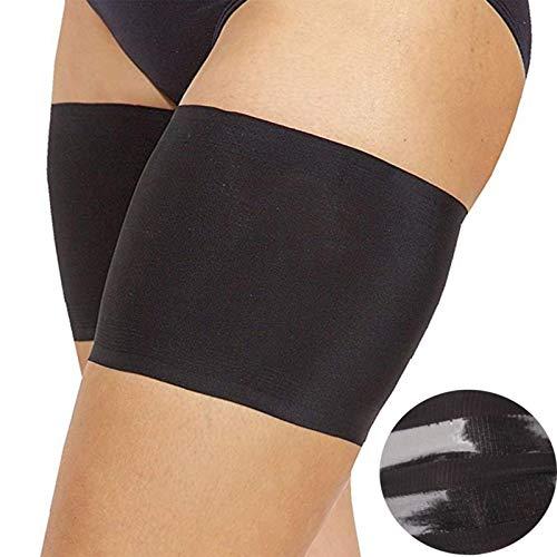 XPuing Banda de compresión elástica ideal para tirar, músculos tensados o moretones, lesiones cuádruple medianas y grandes, evitar rozaduras en el muslo y frotar con forro de satén (negro)