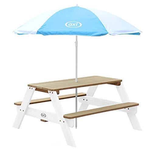 AXI Nick Kinder Sand & Wasser Picknicktisch aus Holz   Wasserspieltisch & Sandtisch mit Deckel und Behältern   Kindertisch / Matschtisch in Braun & Weiß mit Sonnenschirm für den Garten