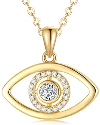14K Solid Gold Evil Eye Pendant Necklace Fine Jewelry Gift for Women Girls 18 Adjustable Length product image