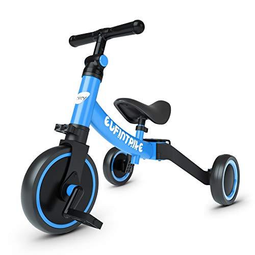 besrey Triciclos para Niños, 5 en 1 Un Bici polivalente, Triciclo ,Bicicleta ,Carro de Equilibrio ,Caminante, 2.8kg Ligero y portátil, Adecuado para niños de 1-3 años,Azul