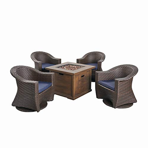 Great Deal Furniture Celeste Patio Fire Pit Set, 4-Seater with Wicker Swivel Chairs, Multi-Brown, Navy Blue, Brown with Wood Design