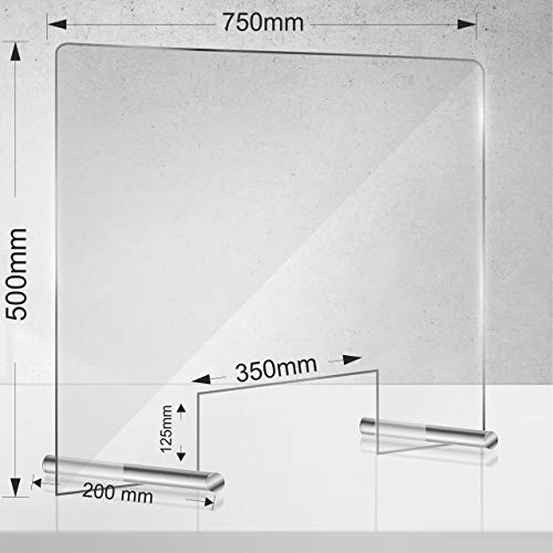 Manschin Laserdesign Acryl Schutzschild | Niesschutz | Spuckschutz | Thekenaufsteller | Schutz gegen Tröpfcheninfektion bei Virus 750x500mm (750x500mm Querformat)