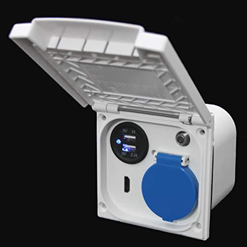 Multifunktions Außensteckdose Wohnmobil Wohnwagen Caravan Boot 220V 230V Sat Antenne USB HDMI 12 Volt Schuko Raute