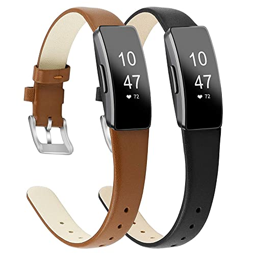 [2 Pack] BOTNUW Leather Bands Compatible with Fitbit Inspire Bands & Inspire HR Band for Women Men, Soft Leather Strap Wristbands Accessories Replacement for Fitbit Inspire Fitness Tracker
