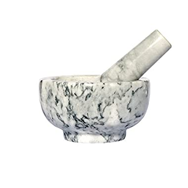 Kojà Home Natural Marble Mortar & Pestle Stone Grinder for Spices, Seasonings, Pastes, Pestos and Guacamole | Attractive Gift | Stays Cool | Easy Clean up | Fully Guaranteed