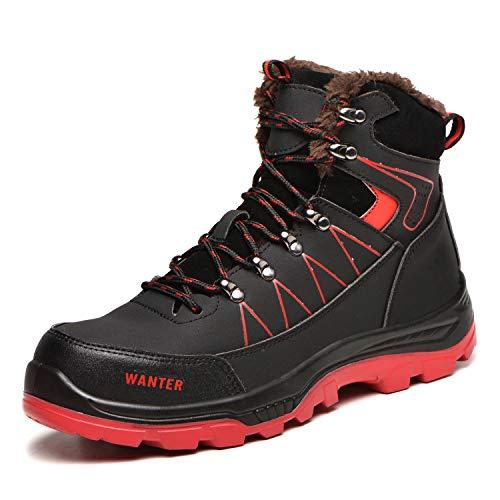 COOU Sicherheitsschuhe Herren S3 Wasserdicht Winter Arbeitsschuhe mit Stahlkappe Sportlich Leicht Atmungsaktiv Schutzschuhe rutschfeste Schuhe 608/Black Red 42 Warm