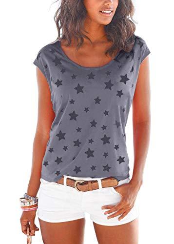 Lantch Camiseta de verano básica de manga corta para mujer, de algodón A-azul marino. S