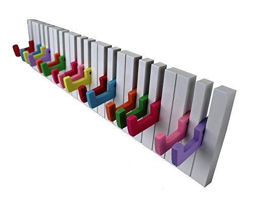 GMMH Design Wandgarderobe Kleiderhaken Hakenleiste 16 Haken Klavier Garderobe Piano NEU (weiß-bunt)