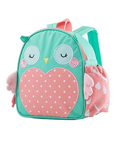 Planet Buddies Kinder Brotdosentasche, isolierte Lunchbox-Tasche als Rucksack für die Schule, coole Lunchtasche für Mädchen und Jungen, Kinder-Rucksack mit Flaschenhalter, Namensschild, Olive Eule