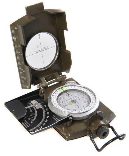 Huntington Kompass MG-XL Camo Militär Marschkompass / Peilkompass Premium Qualität und Metallgehäuse in XL-Größe - mit Neigungsgradient in Grad und Prozent, professionell flüssigkeitsgedämpft, bundeswehrgrün, Mod. K4074 (DE)