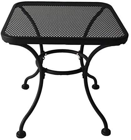 "COLIBROX Heavy Duty Steel 18"" Square Latticework Tabletop Patio Yard Porch Outdoor Coffee Side End Table - Black"