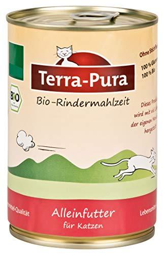 Terra Pura Bio kattenvoer rundermaaltijd glutenvrij, 12er Pack (12 x 400 g)