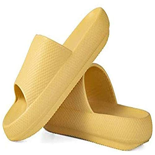 Pillow Slides Slippers,Super Soft Home Slippers,Bathroom Non-Slip Thick Soled Shoes for Women Men (35-36,Yellow)