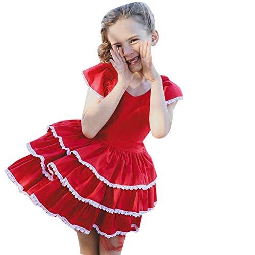 Moneycom Vestido de verano para niñas, niñas, con manga de encaje, vestido con volantes Junp, vestido de cumpleaños, tul chic ceremonia, boda, 2019, color rojo rojo 18- 24 meses