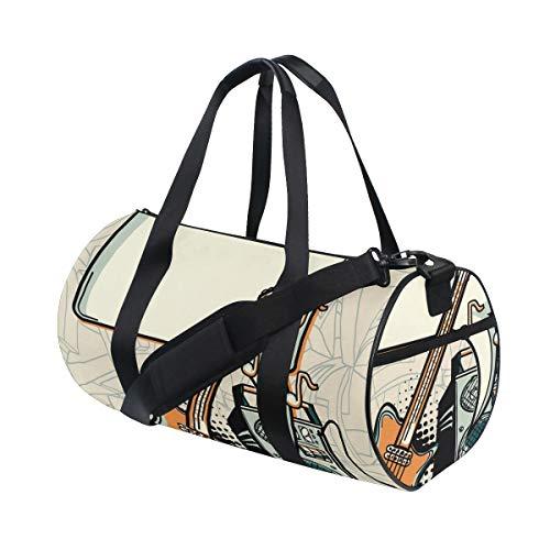 HARXISE Sporttasche Reisetasche,Musikdesign Gitarrenverstärker und Sprechblase,Schultergurt Handgepäck für Übernachtung Reisen