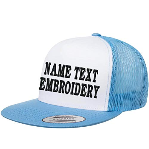 Custom Trucker Hats Embroidery Personalized Yupoong Mesh Snapback Hat - White Baby Blue