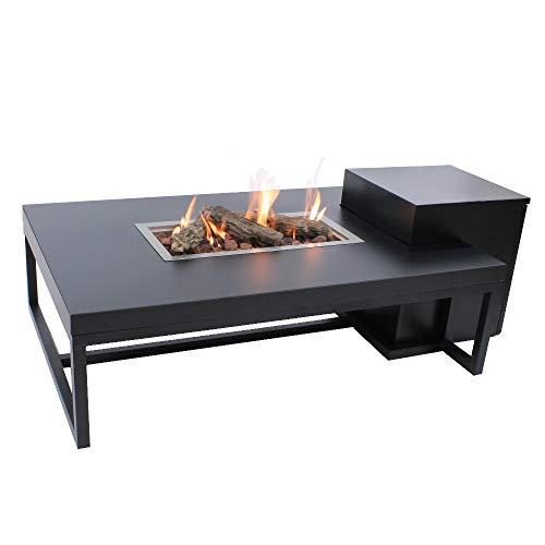 Enjoyfires Ambiance Propan-Feuertisch, Feuerstelle, Gasfeuerstelle, Terassenkamin | Rechteckig Schwarz-Schwarz | 120x80x35 cm
