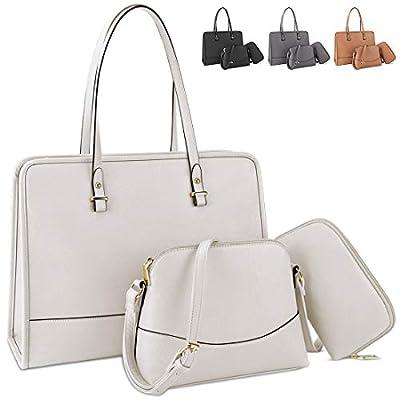 Handbags for Women Top Handle Satchel Tote Bag Waterproof Lightweight Shoulder Bag Leather Women Large Capacity Fashion Messenger Work Bag 3pcs Purse Set Beige