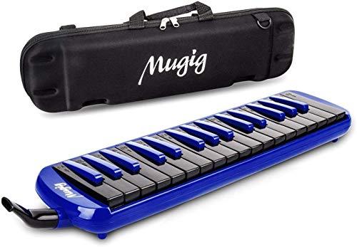Mugig Melodica 32 teclas, C-key, Piano/teclado inspirado instrumento, portátil, Phosphor bronce Reed, apto para práctica, enseñanza o rendimiento de escenario. (negro y azul)