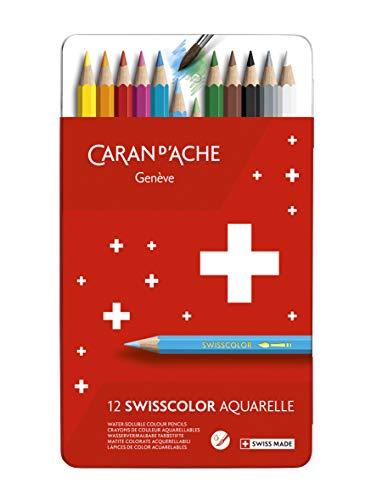 Caran d'ACHE - SWISSCOLOR Aquarelle Buntstifte in Metallbox - 12 Stück
