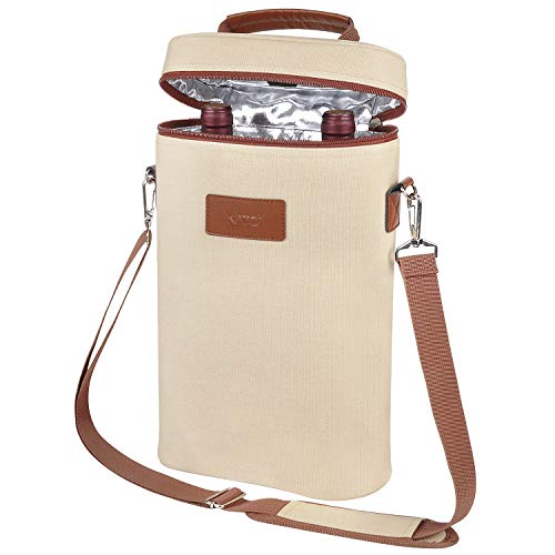Tirrinia 2 Bottle Wine Tote Carrier - Leakproof & Insulated Padded Versatile Canvas Cooler Bag for Travel, BYOB Restaurant, Wine Tasting, Party, Great Christmas Day Gift for Wine Lover, Beige