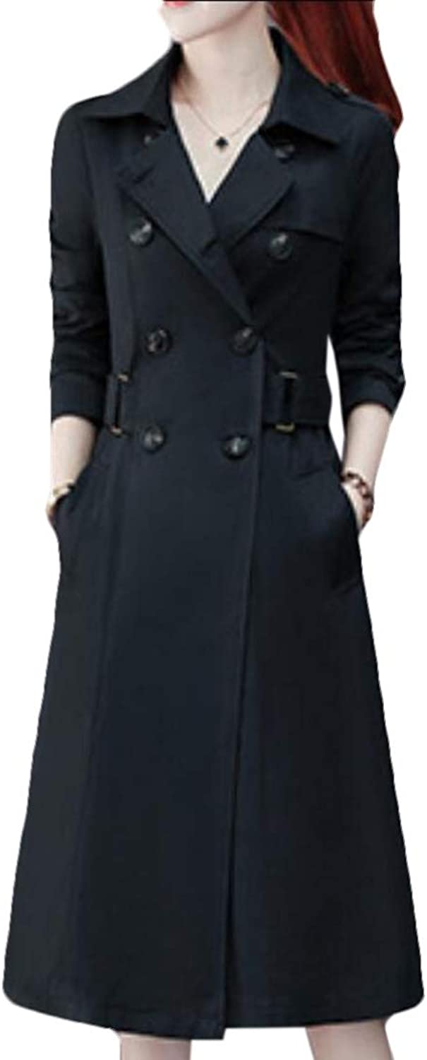 LEISHOP Women Trench Coat Double Breasted Notched Lapel Jacket Overcoat with Belt