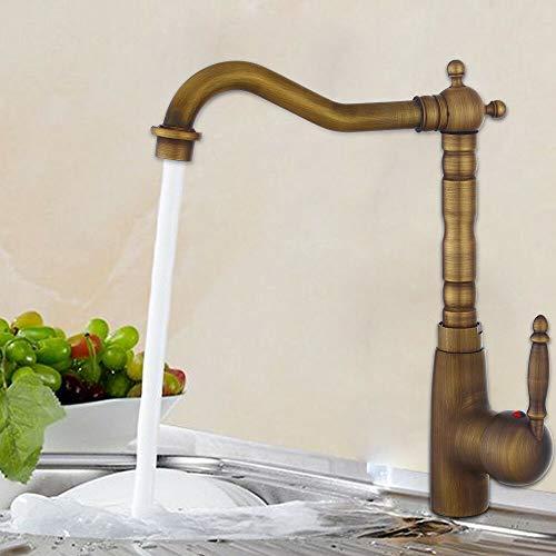 Aohuada Grifo monomando para fregadero de cocina o baño, latón antiguo, retro, de acero inoxidable, juego de ducha con cascada, juego de ducha empotrado