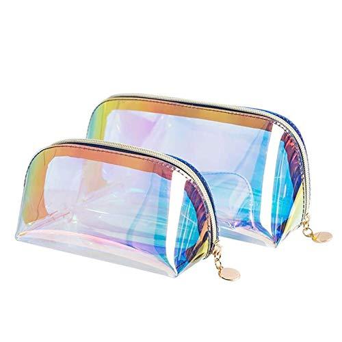 SoundZero 2pcs Bolsa de Cosméticos Transparente Iridiscente, Bolsa Cosmética láser Transparente, Transparente Para Viajar Bolsa de Maquillaje Holográfica Organizador, TPU Impermeable Bolsa para Viajes
