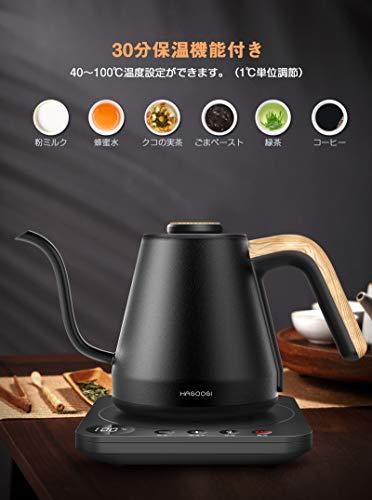HAGOOGI 電気ケトル コーヒー 電気ポット 0.8L 1200W 温度設定(1℃単位)/保温機能/空焚き防止 細口 ドリップ ケトル 湯沸かしポット ステンレス ブラック
