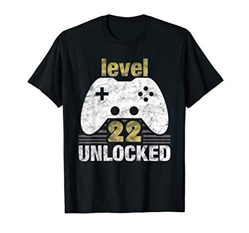 Image of the Level 22 Unlocked 22nd Birthday 22 Year Old Gift for Gamers T-Shirt