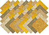 Beige Gold Blender Collection 40 Precut 5-inch Quilting Fabric Squares Charm Pack...