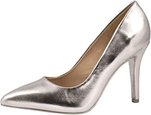 Elara Zapato de Tacón Alto Mujer Agudo Estilete Chunkyrayan Plateado JA70-Silber-37