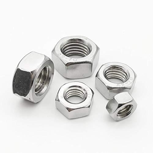 1/2/5/10/25/50 / 100X M1 M1.2 M1.4 M1.6 M2 M2.5 M3 M3.5 M4 M5 M6 M8 M10 M12 M16 M20 M24 DIN934 304 Tuerca hexagonal hexagonal de acero inoxidable-2 piezas M16
