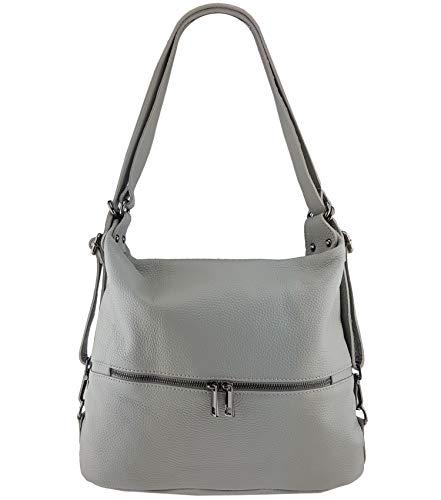 Freyday 2in1 Rucksackhandtasche Designer Damen Handtasche Henkeltasche 100% Echtleder HR02 (Hellgrau)
