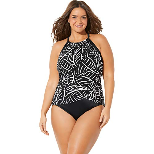 Trimshaper Women's Plus Size High-Neck Ruched One-Piece - 18 W, Hard to Be Leaf