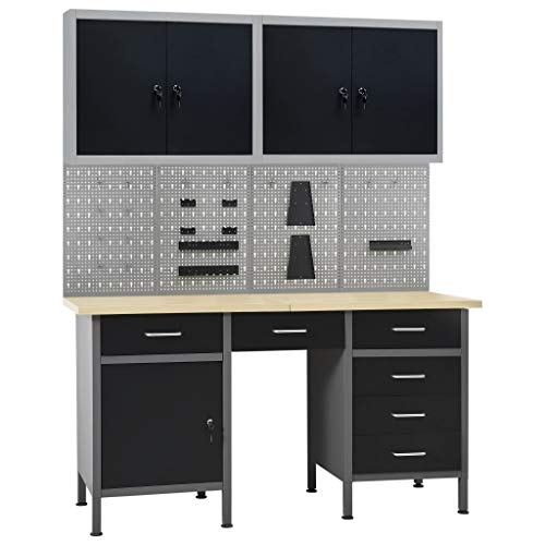 Unfade Memory Adjustable Workbench Table with 6 Drawers and 1 Door, Heavy-Duty Steel Workstation with 4 Wall Panels and 2 Cabinets