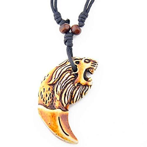 AdorabFruit Colgante de regalo para hombre, diseño de lobo tallado con hueso sintético y amuleto de regalo (color metálico: 6)