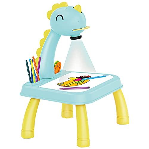FuMeiJiaJiaJu Dinosaurio Niños Proyector LED Arte Dibujo Mesa Juguetes Niños Pintura Mesa Mesa Escritorio Proyección Musical Educativo Aprendizaje Temprano Juguete DIY Pintura Herramientas Regalo