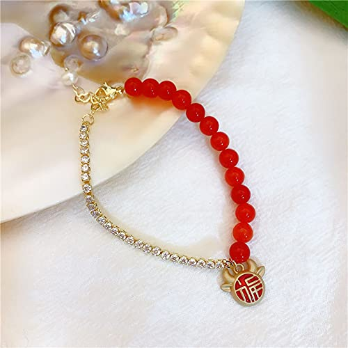 Cuerda roja trenzada año natal pulsera de vaca de la suerte pulsera de circón con incrustaciones de piedra roja natural femenina con cadena de extensión