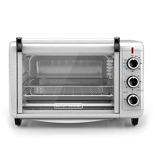 BLACK+DECKER Crisp 'N Bake Air Fry Toaster Oven, 6 Slice, 5 Cooking Functions, Stainless Steel, TO3215SSD