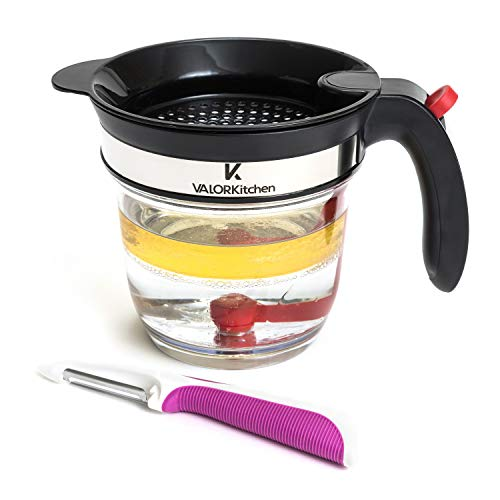 Valor Kitchen 4 Cup Fat Separator With Bottom Release  Healthier Gravy Soup Stock And Oil Separator with Strainer