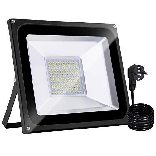 Bellanny 100W Focos LED Exteriores con Enchufe, Proyector LED Blanco Cálido IP65 Impermeable 10000LM 3000K para Iluminación de Seguridad, Jardín, Garaje, Patio