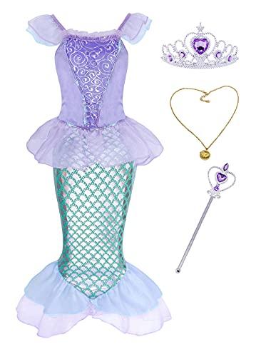 AmzBarley Disfraz sSirenita Niña Boda Fiesta Princesa Sirena Vestido Ropa Niña Cumpleaños Accesorios Cosplay Halloween Navidad Carnaval Bautizo 5-6 Años