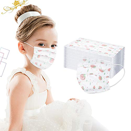 50 Stück Kinder Einweg 3-lagig Filter Atmungsaktive Gesichtsschutz für Kind Camping,Laufen,Radfahren(4-12) Years Old (A)